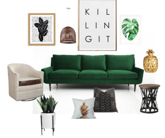 Serene Green Living Room Color Psychology Mood Board