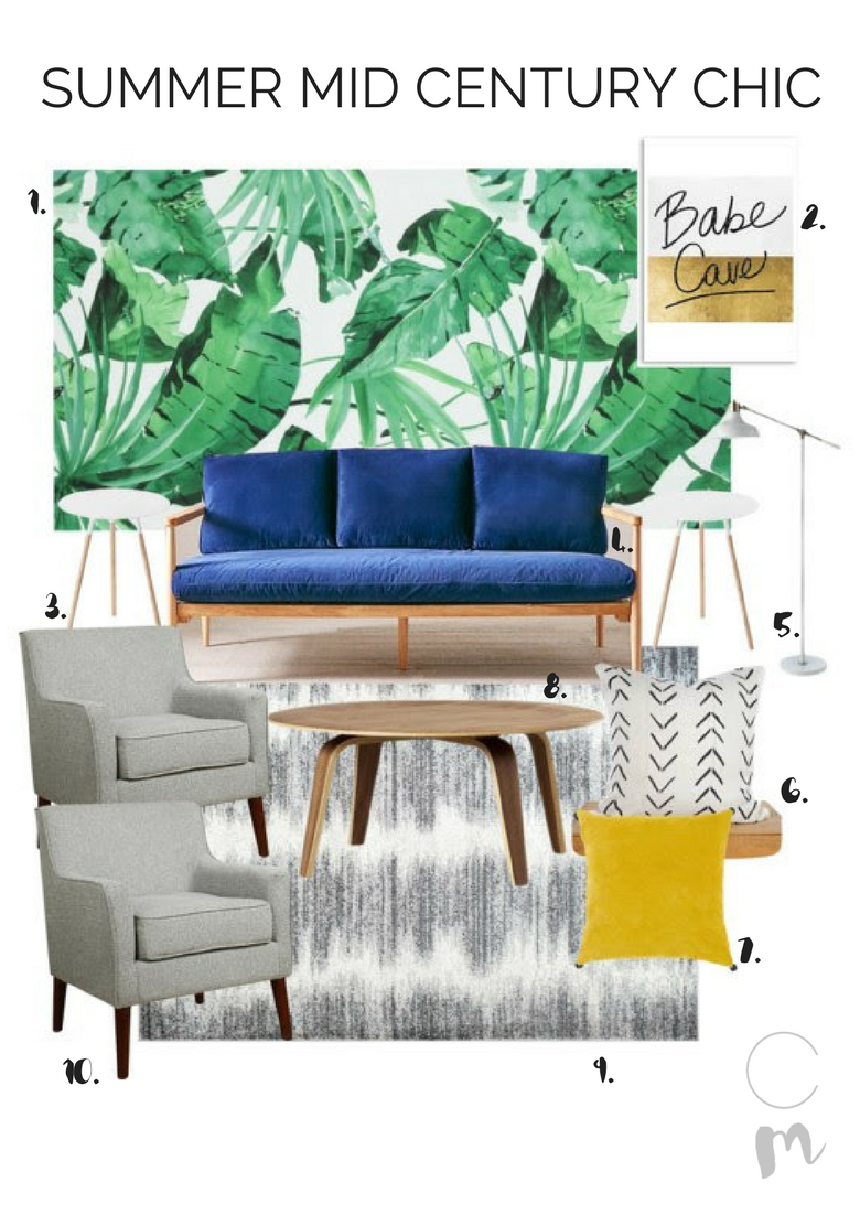 Chic Mid Century Modern Living Room Ready For Summer
