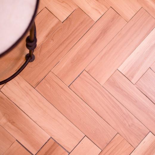DIY Temporary Herringbone Floor Results
