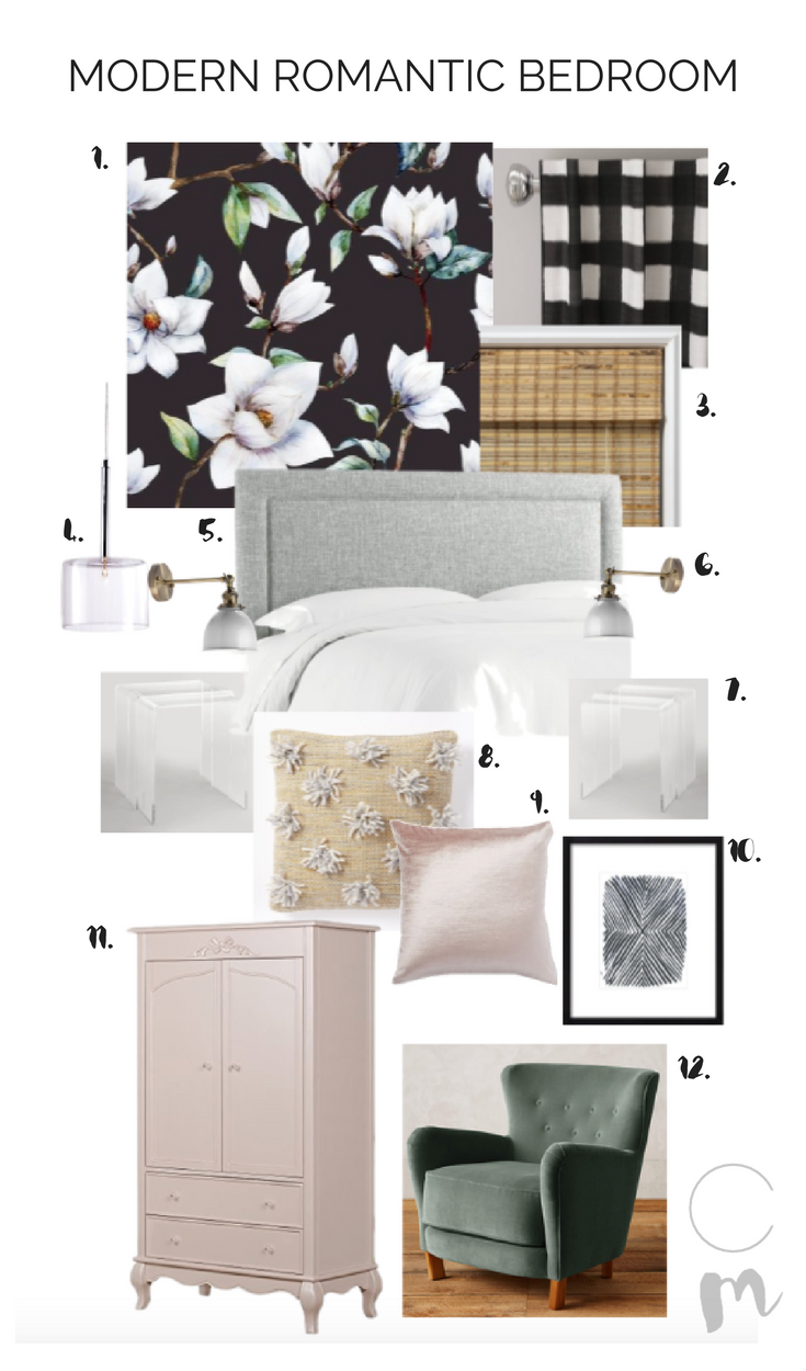 Modern Romantic Bedroom Mood Board