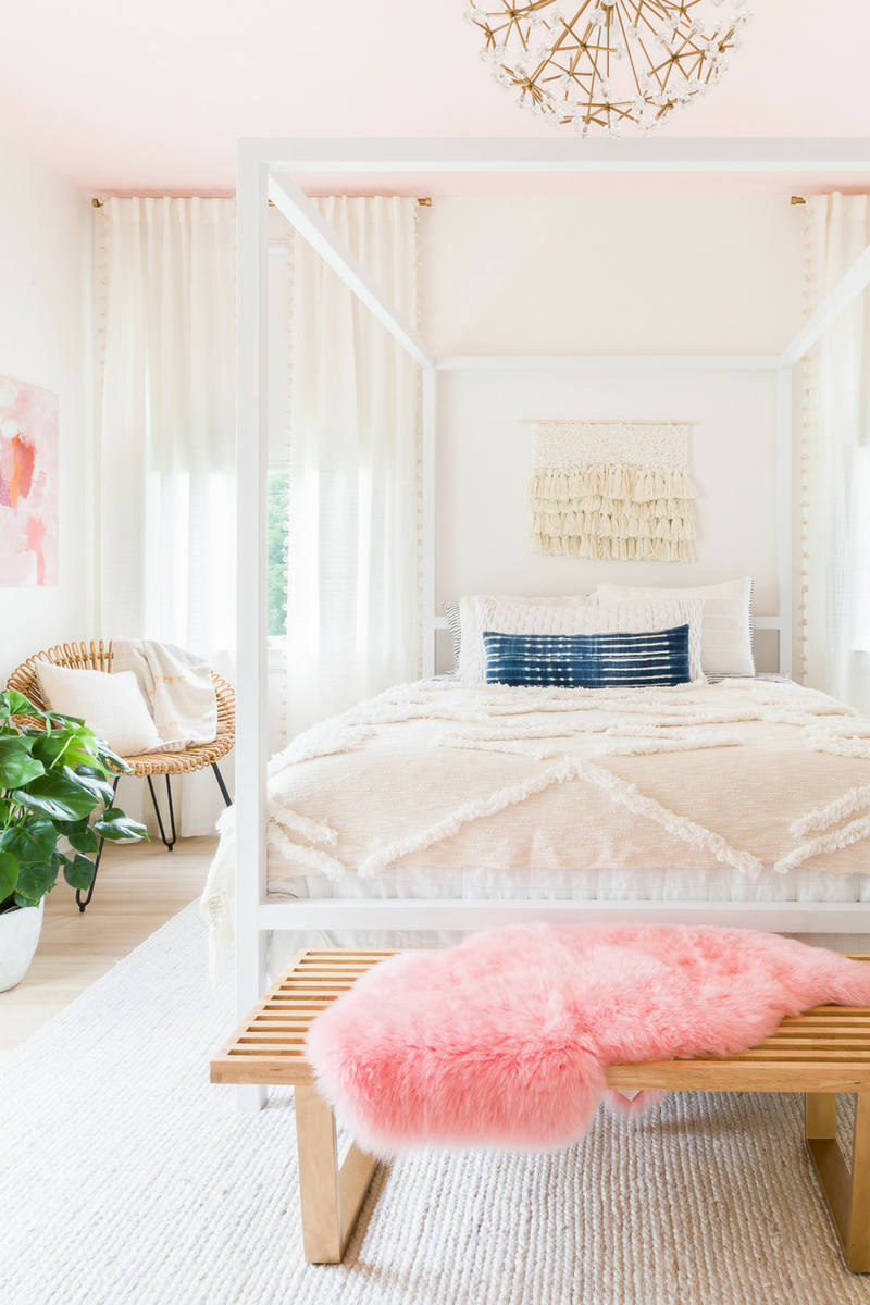 Blush Bedroom Walls and Bed