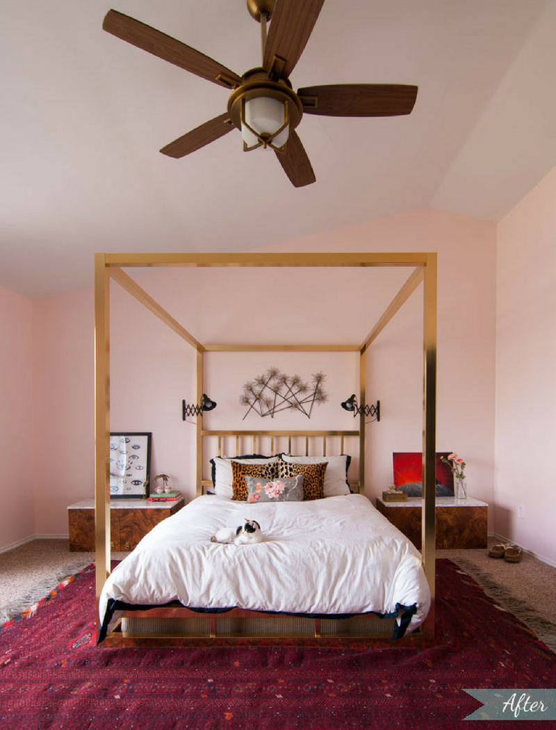 Pink Bedroom Gold Canopy