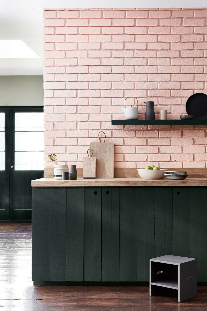 Pink Kitchen Green Cabinets