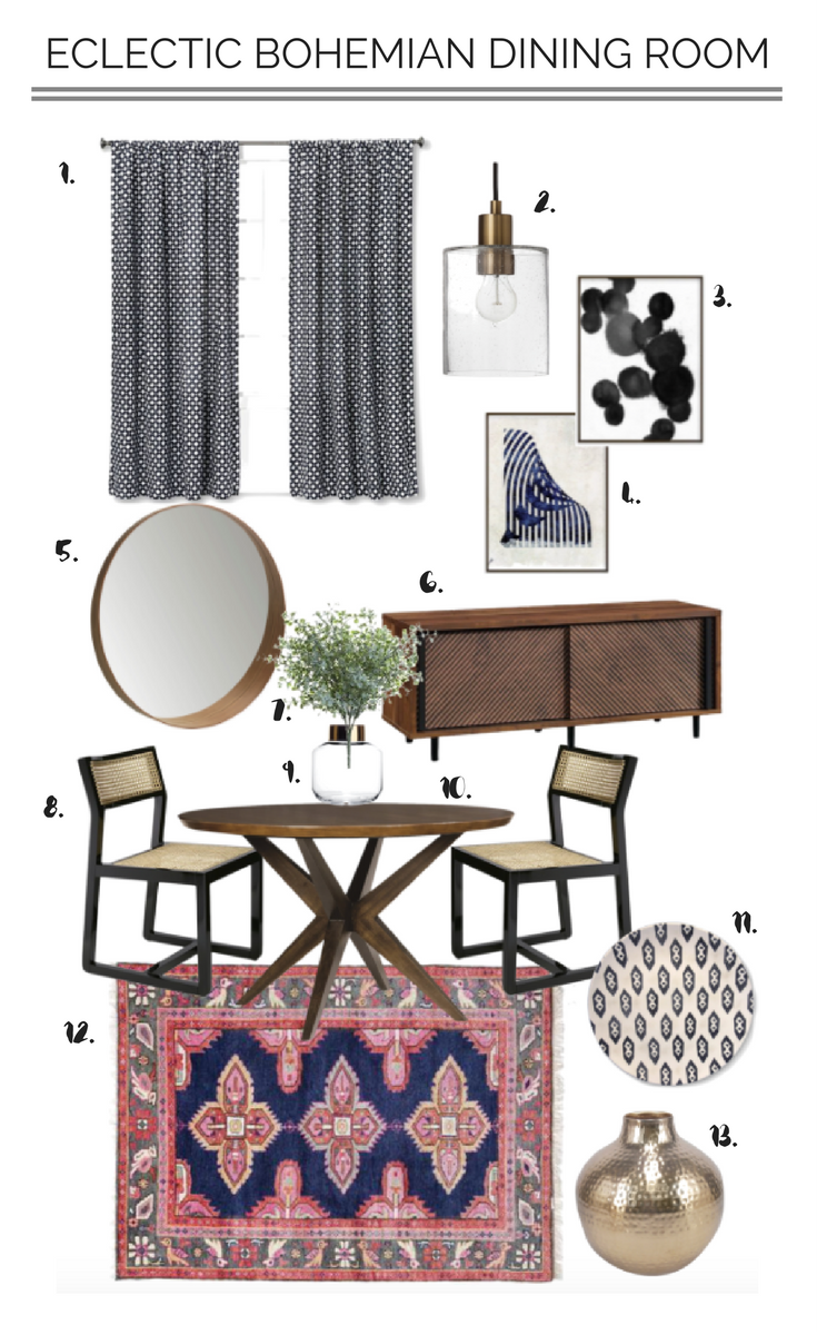 Eclectic Bohemian Dining Room Mood Board