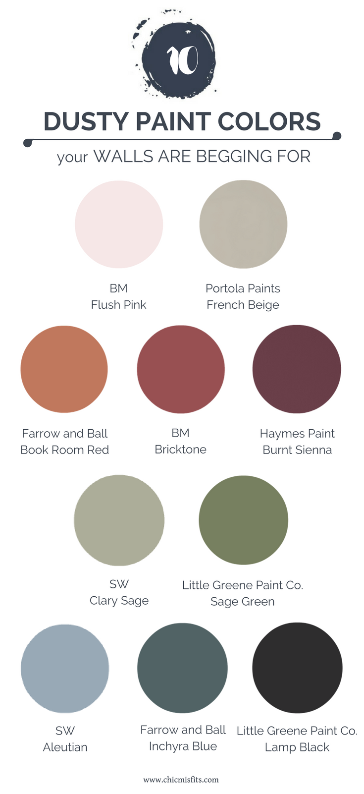Dusty Paint Colors feature palette