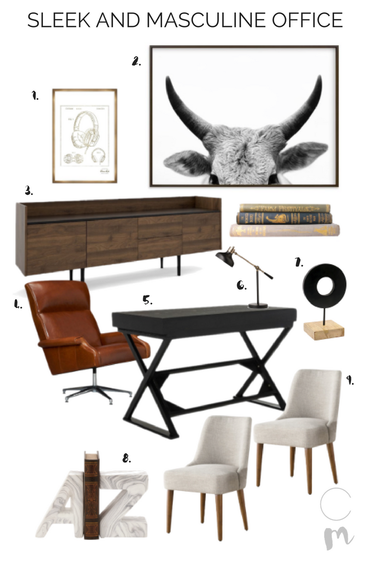 Masculine Office for a Sophisticated Bachelor Pad