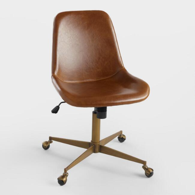 World Market Red Leather Chair: Sleek And Masculine Office For The Sophisticated Bachelor