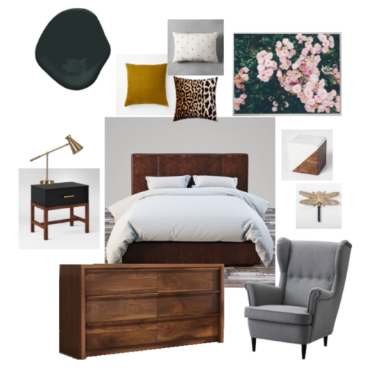 Dark and Moody Green Bedroom Board