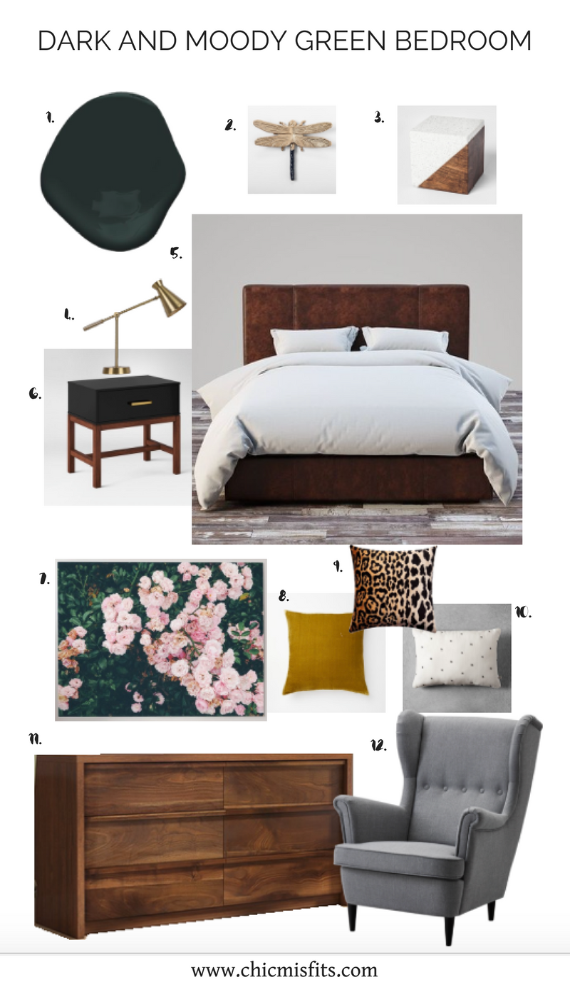 Dark and Moody Green Bedroom Mood Board